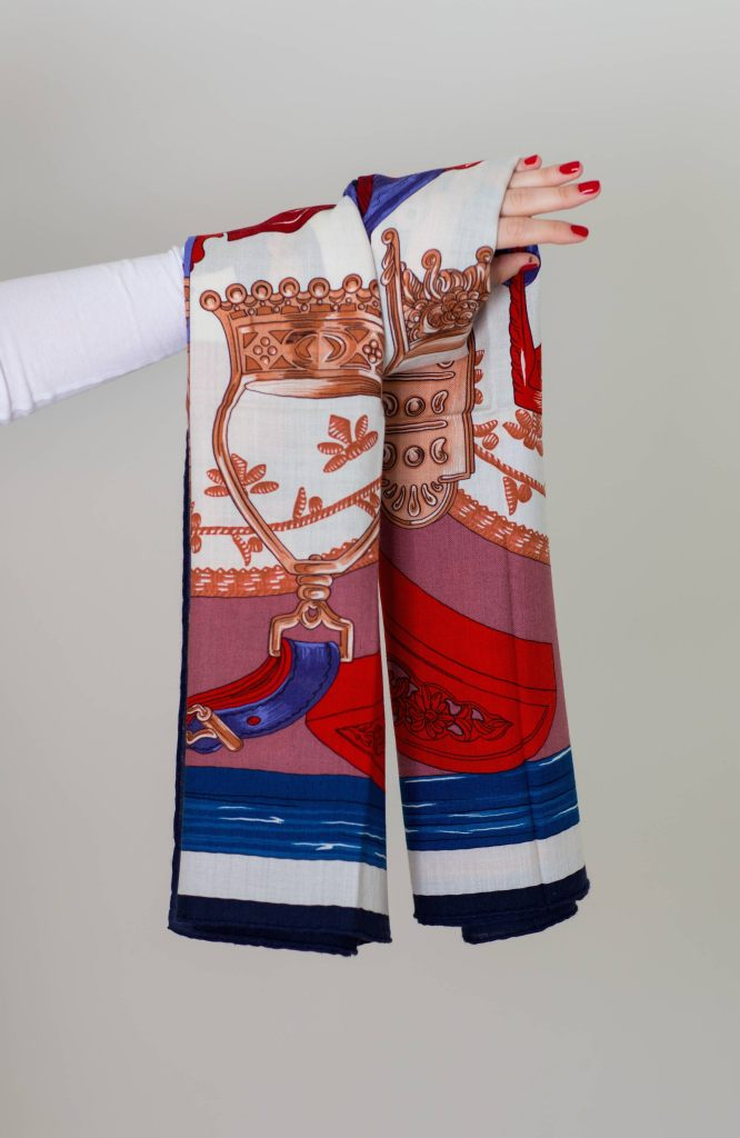Hermes shawl Cavalleria d'Etriers by Virginie Jamin and Francoise De La Perriere