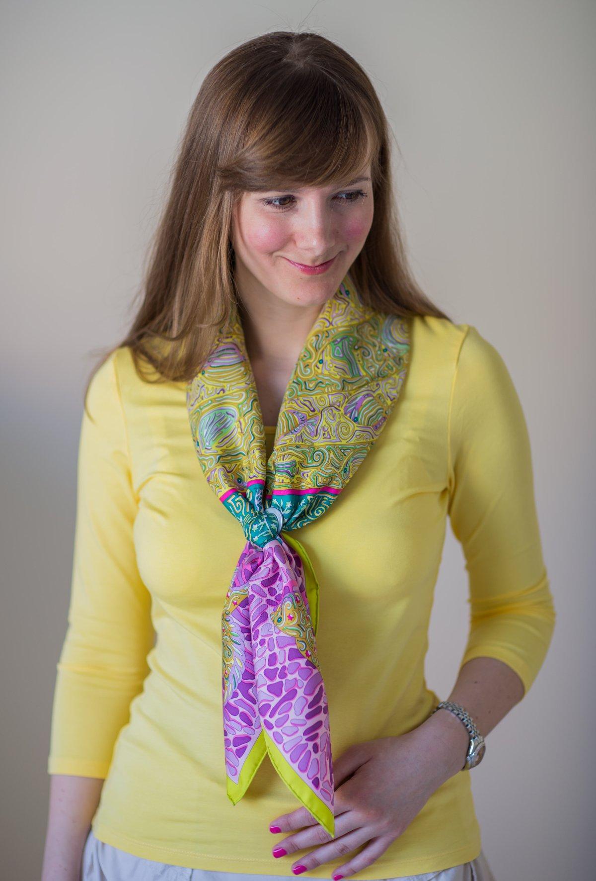 la legende du poisson corail, hermes scarf, knot, knots, knotting, эрмес, платок, карре, как красиво завязать платок