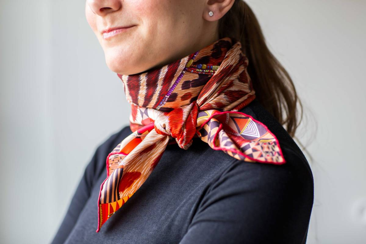 Hermes, Pelages et Camouflage, Aline Honore, how to wear a scarf, knots, knotting, tips, carre, Эрмес, платок, карре, Алин Онорэ, как красиво завязать платок
