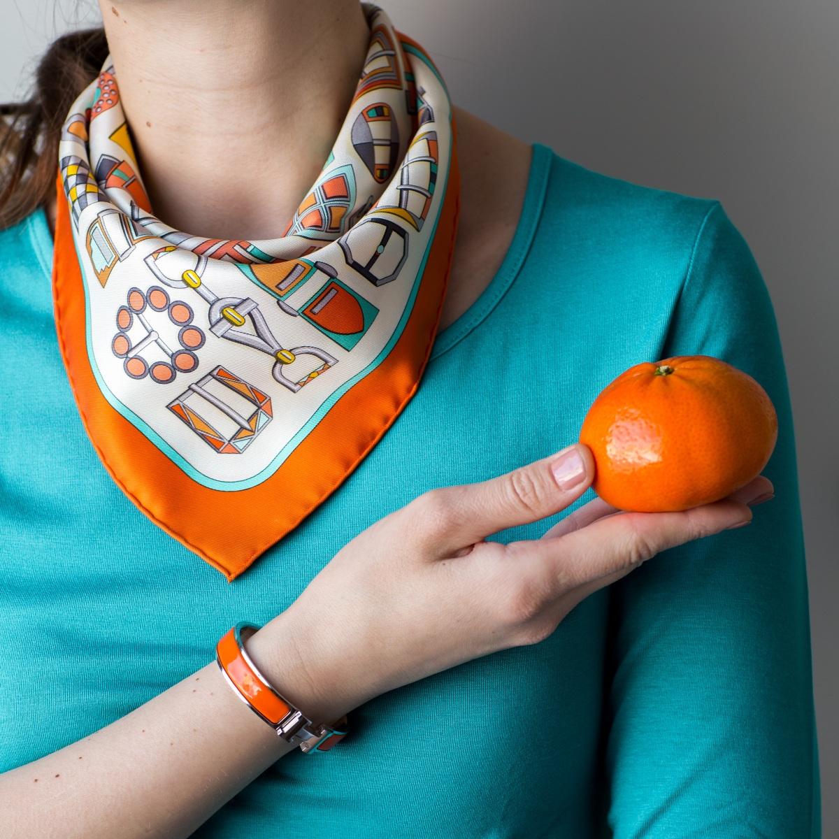 Hermes Clic H, Hermes enamel bracelet, orange, Hermes jewelry, Hermes Clic Clac