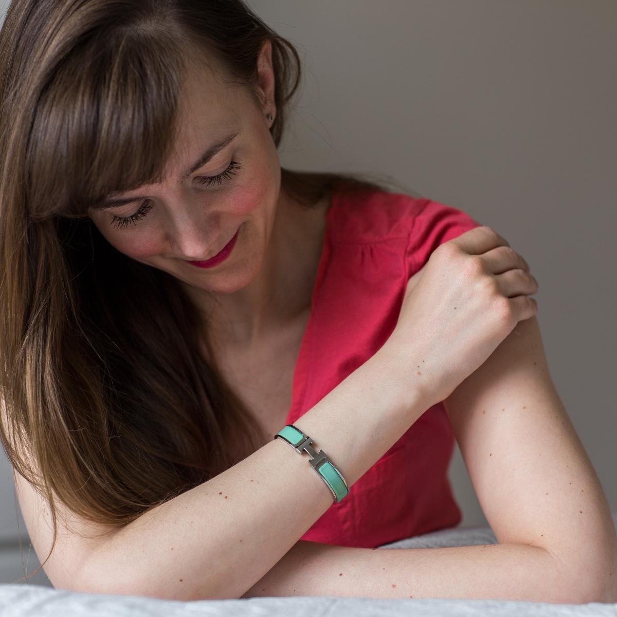 Hermes Clic H, Hermes enamel bracelet, vert aqua, Hermes jewelry, Hermes Clic Clac