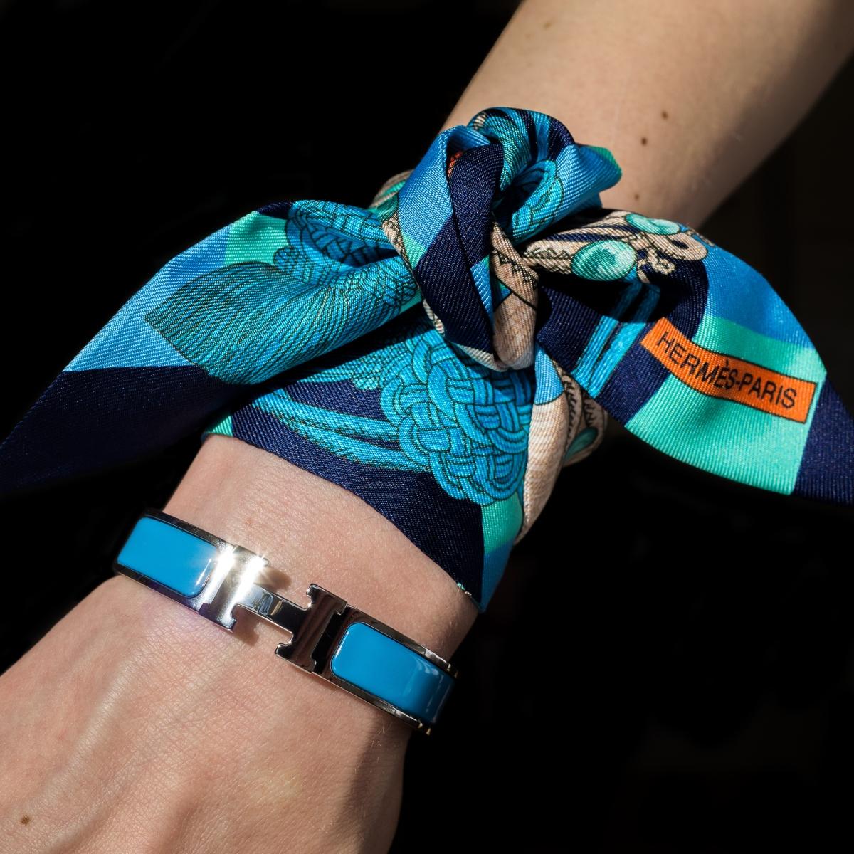Hermes Clic H, Hermes enamel bracelet, Hermes jewelry, Hermes Clic Clac, bleu cielo, sky blue