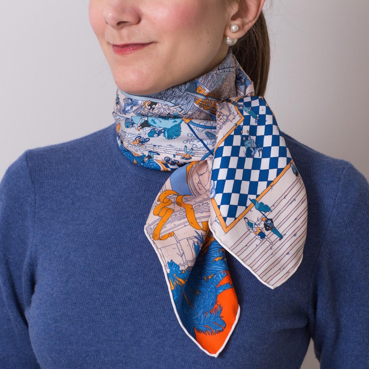 Le Grand Prix du Faubourg, Ugo Gattoni, Hermes scarf, carre, knot, knotting, tutorial, hermes carre, Hermes Schal, эрмес, платок, карре, как красиво завязать платок, how to wear a scarf